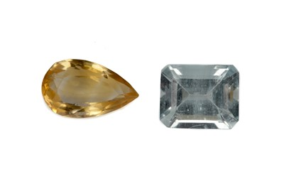 Lot 437 - A CERTIFICATED UNMOUNTED CITRINE AND AQUAMARINE