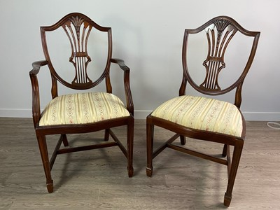 Lot 1332 - A MAHOGANY DINING SUITE OF GEORGE III DESIGN