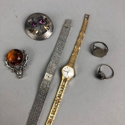 Lot 5 - A COLLECTION OF SILVER AND COSTUME JEWELLERY