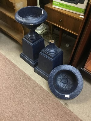 Lot 61 - A PAIR OF CAST IRON PLANTERS