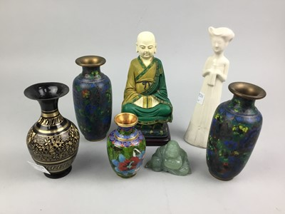 Lot 97 - A LOT OF THREE CLOISONNE ENAMEL VASES ALONG WITH OTHER ITEMS