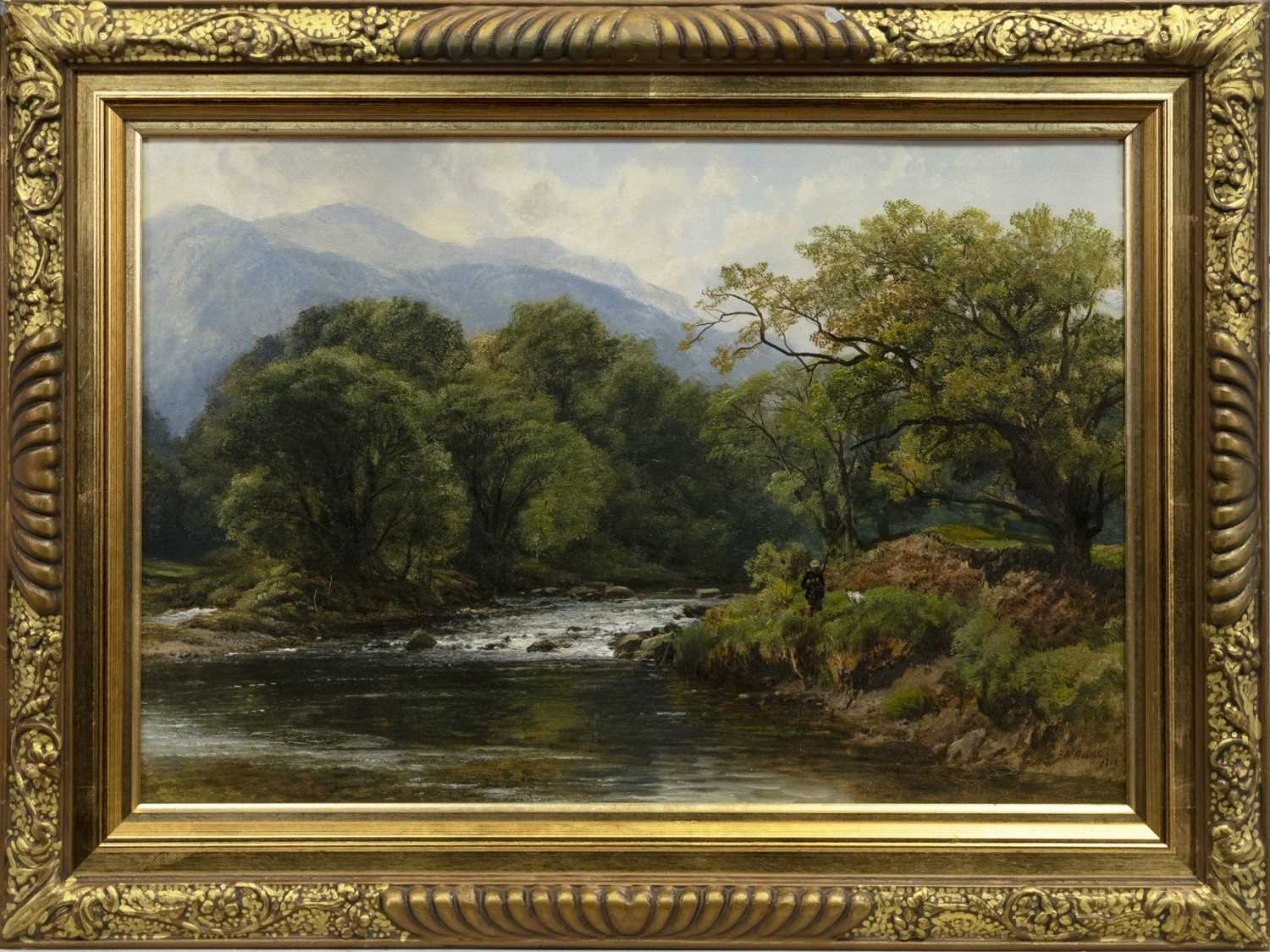 Lot 94 - SALMON ANGLER AND HIS DOG ON THE RIVER TAY, KINNAIRD, PERTHSHIRE, AN OIL BY FREDERICK WILLIAM HULME