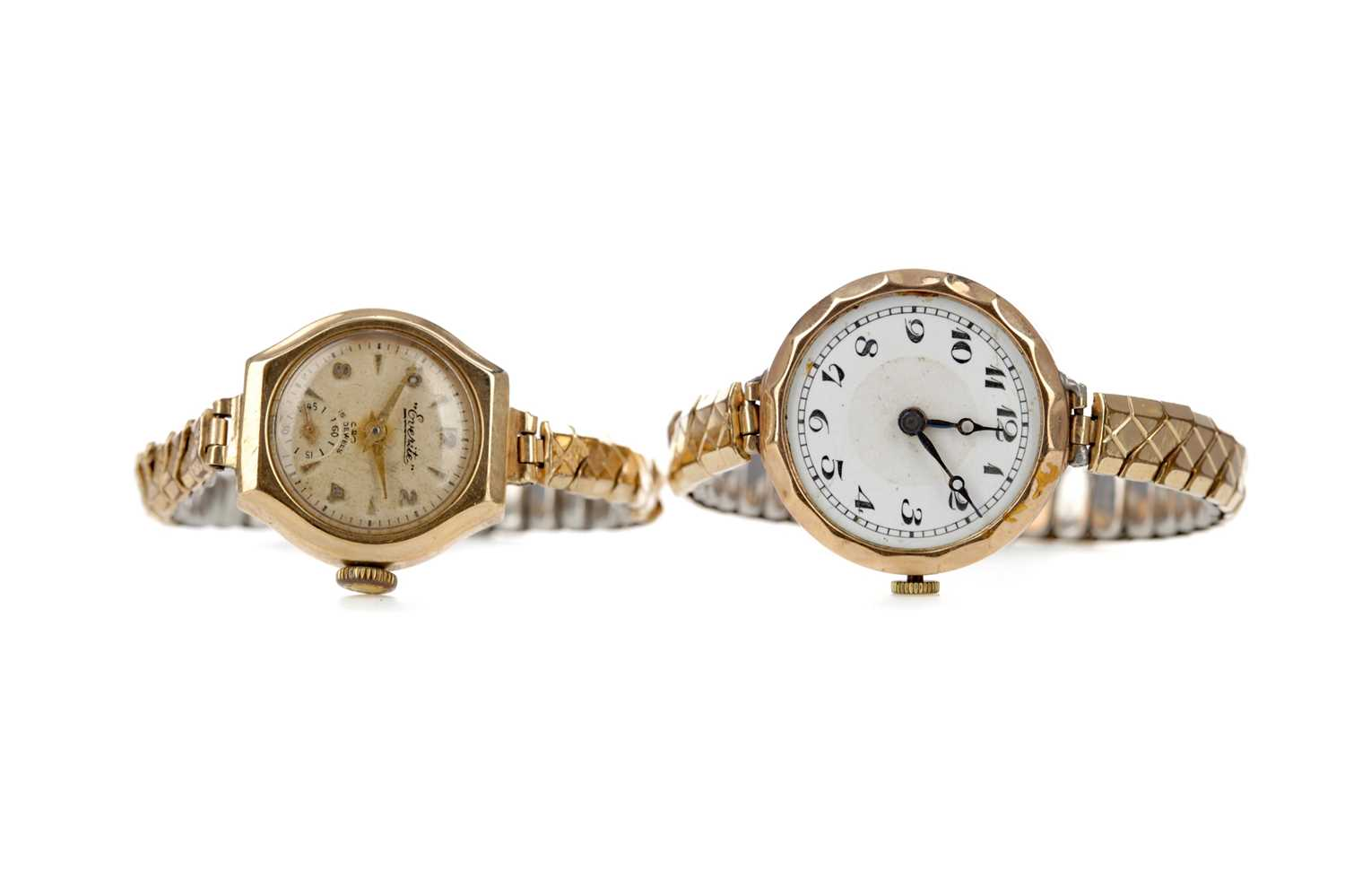 Lot 702 - TWO GOLD CASED LADY'S WATCHES