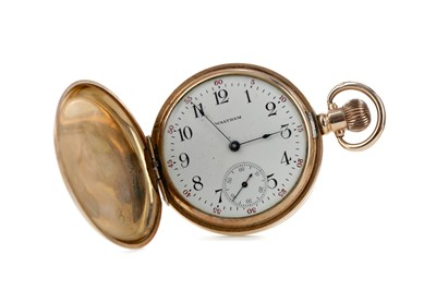 Lot 703 - A GOLD PLATED WALTHAM FULL HUNTER POCKET WATCH AND A GOLD T-BAR