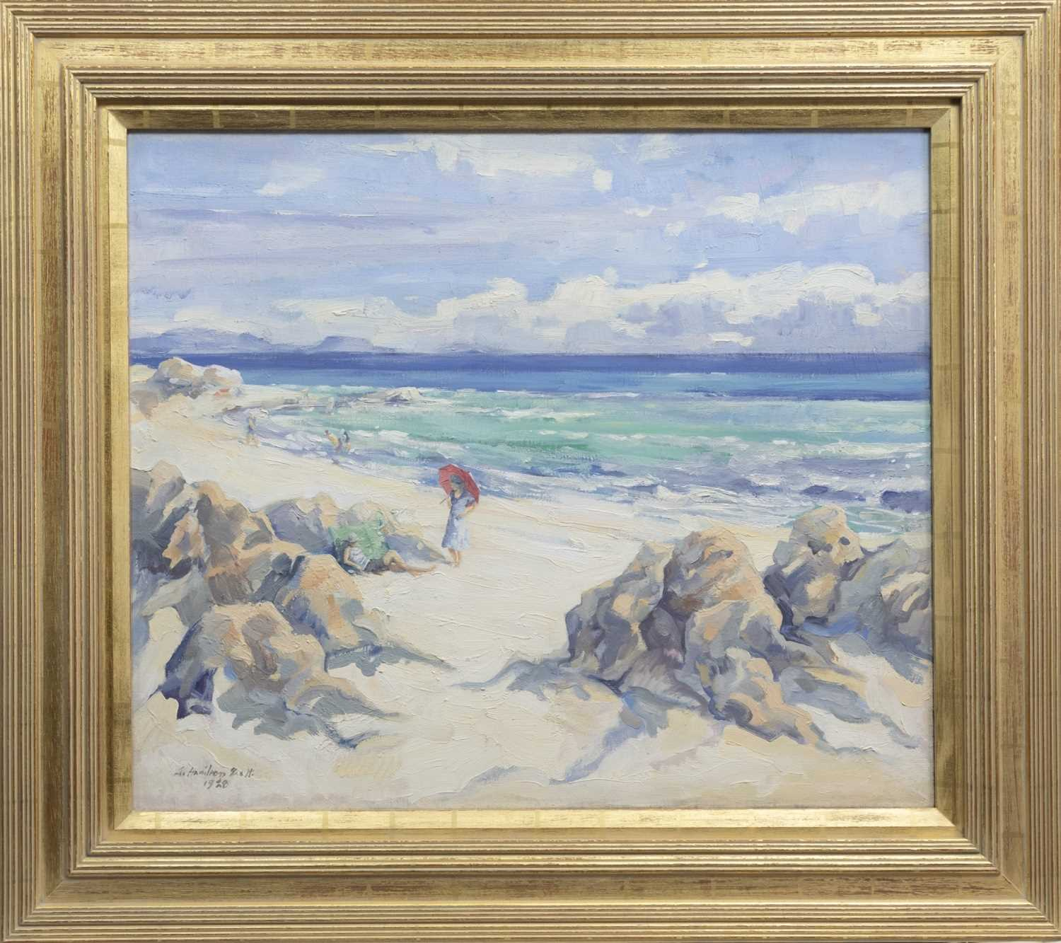 Lot 11 - THE RED PARASOL 1928, AN OIL BY ALEXANDER HAMILTON SCOTT