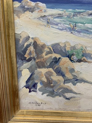 Lot 11 - THE RED PARASOL 1928, AN OIL BY ALEXANDER HAMILTON SCOTT