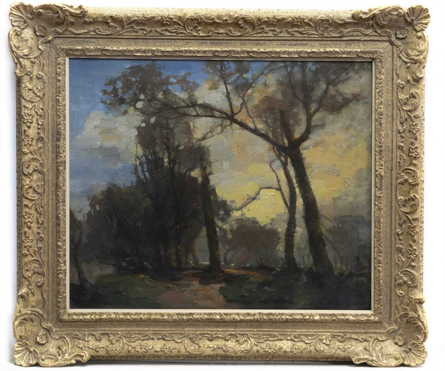 Lot 47 - AUTUMN SUNSET, COLINTON DELL 1910, AN OIL BY WALTER BALMER HISLOP
