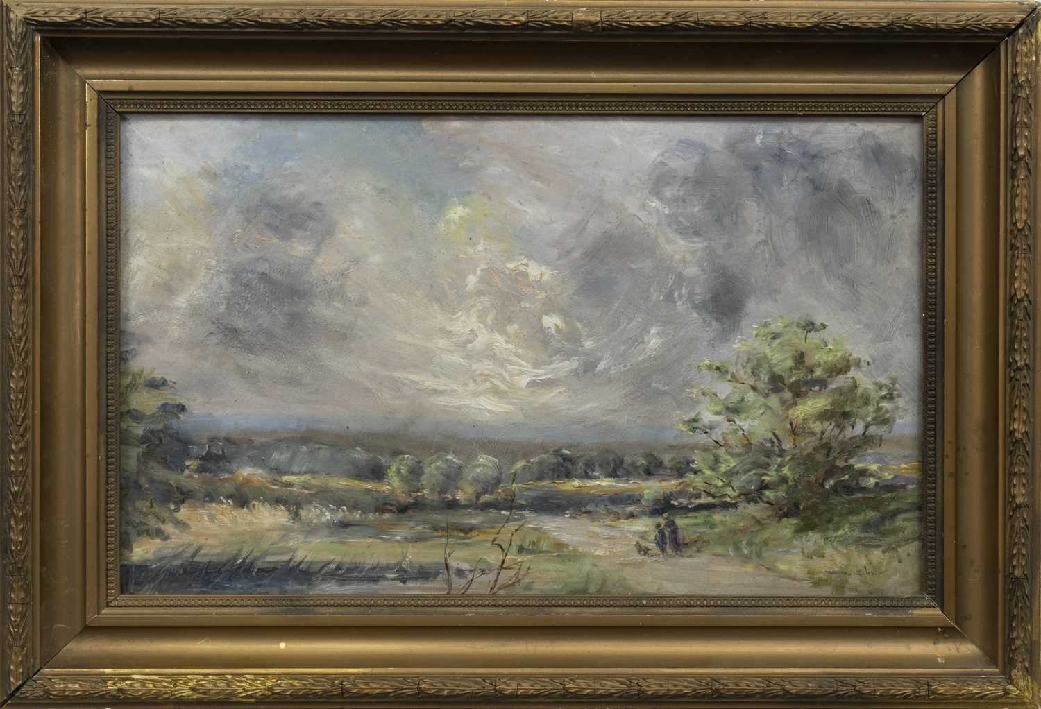 Lot 97 - FIGURES WITH A DOG ON A COUNTRY LANE, AN OIL BY WILLIAM ALFRED GIBSON