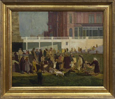 Lot 98 - REMEMBRANCE DAY, BROADSTAIRS, AN OIL ATTRIBUTED TO EVELYN MARY DUNBAR