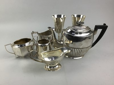 Lot 57 - A LOT OF SILVER PLATE INCLUDING TEA WARE