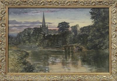 Lot 101 - HOLY TRINITY CHURCH, STRATFORD-UPON-AVON, A WATERCOLOUR BY SAM BOUGH