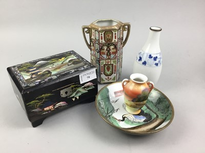 Lot 79 - A CHINESE LACQUERED MUSICAL TRINKET BOX AND OTHER ASIAN ITEMS
