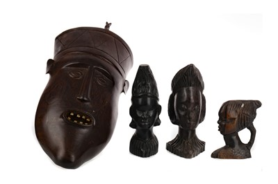 Lot 724 - AN AFRICAN CARVED WOOD WALL MASK, ANOTHER MASK AND BUSTS