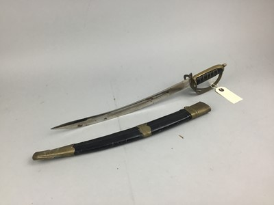Lot 73 - A LATE 19TH CENTURY SHORT SWORD WITH BRASS MARKED SCABBARD