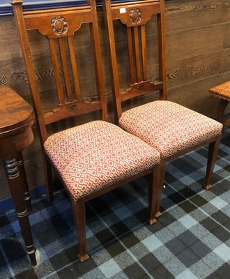 Lot 17 - A PAIR OF ARTS & CRAFTS SINGLE CHAIRS
