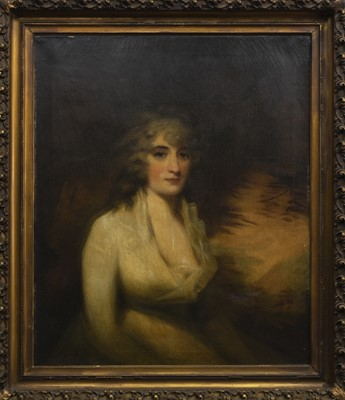 Lot 100 - PORTRAIT OF A LADY, AN OIL FROM THE CIRCLE OF SIR HENRY RAEBURN