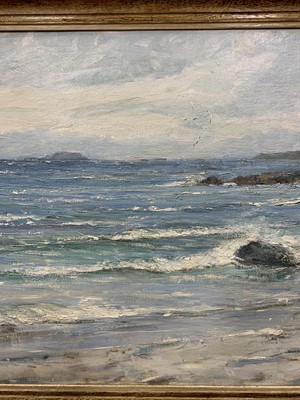 Lot 107 - WEST COAST SEASCAPE WITH SAILING BOATS ON THE HORIZON, AN OIL BY MARY MORRIS