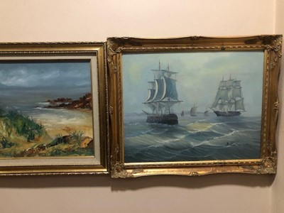 Lot 8 - A LOT OF SIX PICTURES INCLUDING AN OIL OF TWO BATTLESHIPS