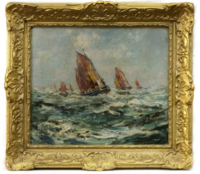Lot 115 - MAKING HOME IN A FRESHENING BREEZE, AN OIL BY T B SMITH