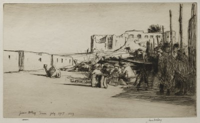 Lot 123 - A DESERTED OASIS, AN ETCHING BY JAMES MCBEY