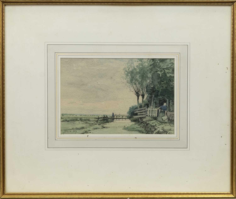 Lot 114 - DUTCH LANDSCAPE, A WATERCOLOUR BY JAMES MCBEY
