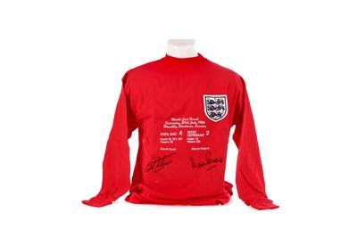 Lot 1717 - AN ENGLAND INTERNATIONAL JERSEY AND PHOTOGRAPH SIGNED BY 1966 WORLD CUP FINAL GOAL SCORERS