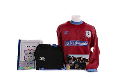 Lot 1718 - A KILNOCKIE F.C. JERSEY SIGNED BY ALLY MCCOIST AND ROBERT DUVAL, ALONG WITH OTHER ITEMS