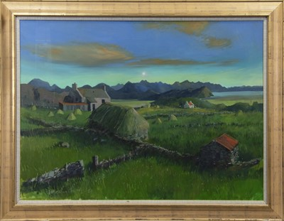 Lot 562 - COTTAGES AT LOCH EWE, AN OIL BY JOHN MATHISON