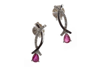 Lot 816 - A PAIR OF RUBY AND DIAMOND EARRINGS