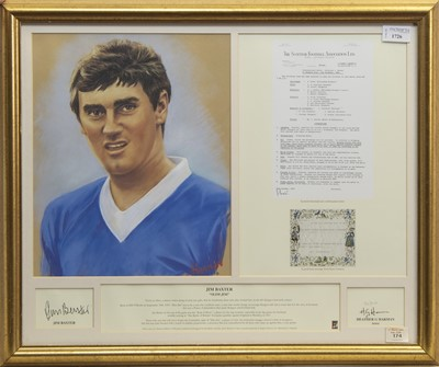 Lot 1726 - A JIM BAXTER SCOTLAND AND RANGERS F.C. AUTOGRAPH DISPLAY AND PRINT BY HEATHER G. HARMA