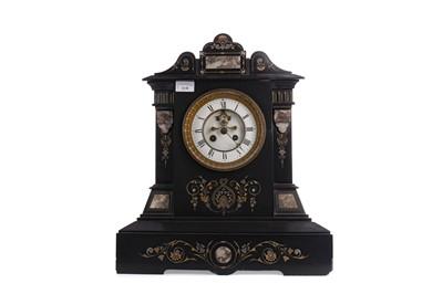 Lot 1138 - A VICTORIAN BLACK SLATE AND GRANITE MANTEL CLOCK