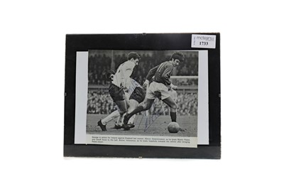 Lot 1733 - A GEORGE BEST, GEOFF HURST AND MARTIN PETERS AUTOGRAPH PICTURE