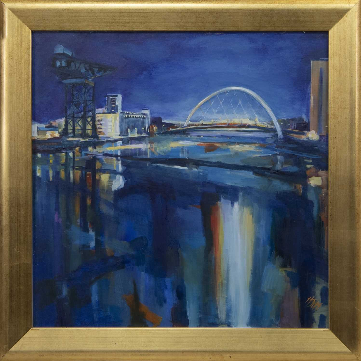 Lot 507 - THE CLYDE AT THE ARC, AN OIL BY HELEN MCDONALD MATHIE