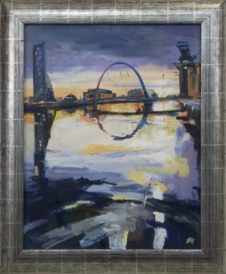 Lot 506 - GLASGOW RIVERSIDE, AN OIL BY HELEN MCDONALD MATHIE