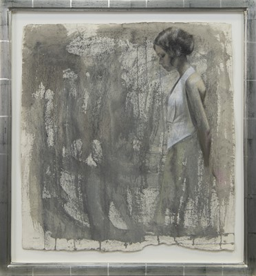 Lot 511 - STUDY FOR READY AND WAITING, A MIXED MEDIA BY DENISE FINDLAY
