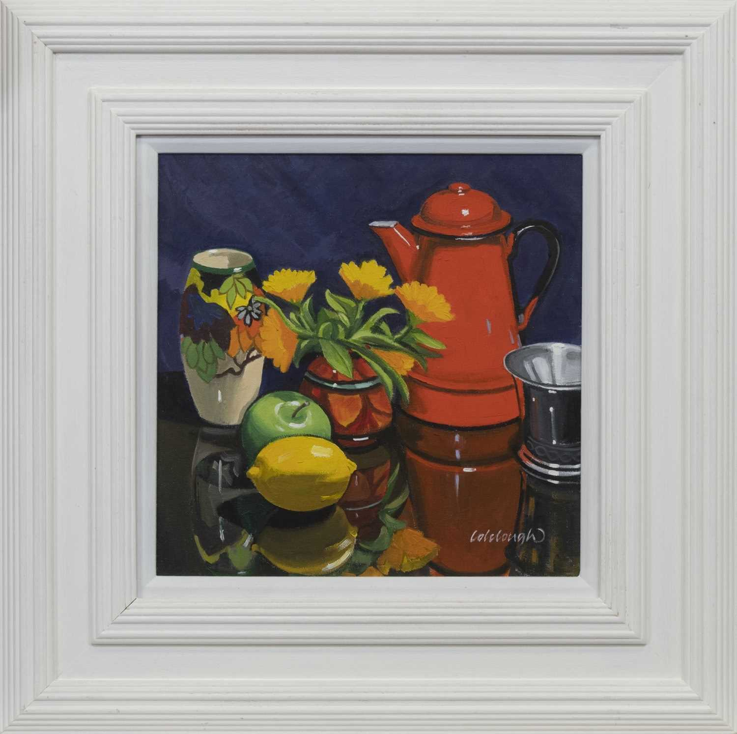Lot 513 - COFFEE POT STUDY WITH MARIGOLDS, AN OIL BY FRANK COLCOUGH