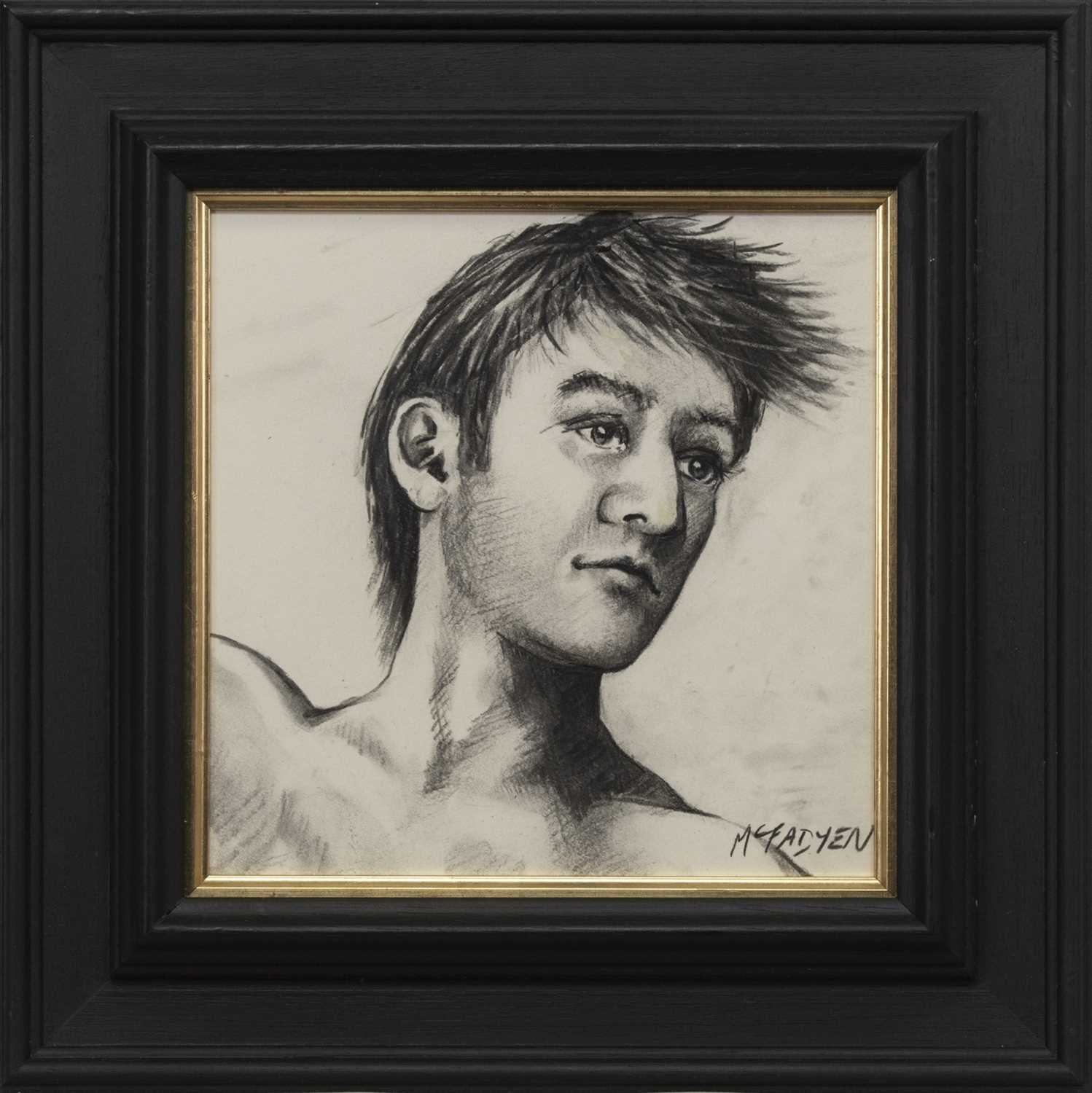 Lot 517 - STUDY OF A MAN, A CHARCOAL BY LEX MCFAYDEN