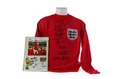 Lot 1725 - AN ENGLAND INTERNATIONAL JERSEY AND FIRST DAY COVER SIGNED BY THE 1966 WORLD CUP WINNING TEAM
