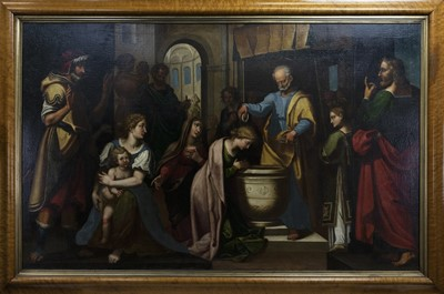 Lot 99 - A 19TH CENTURY, OLD MASTER BAPTISM SCENE
