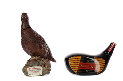 Lot 12 - MCGIBBON'S DRIVER HEAD DECANTER AND FAMOUS GROUSE DECANTER