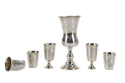 Lot 440 - SIX IMPERIAL RUSSIAN SILVER VODKA CUPS