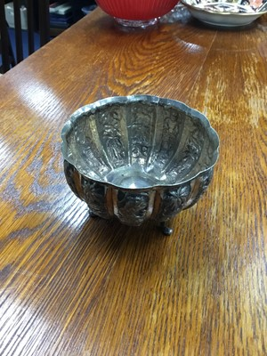 Lot 247 - AN EARLY 20TH CENTURY INDIAN SILVER CIRCULAR BOWL, TEA SERVICE AND OTHER SILVER PLATE