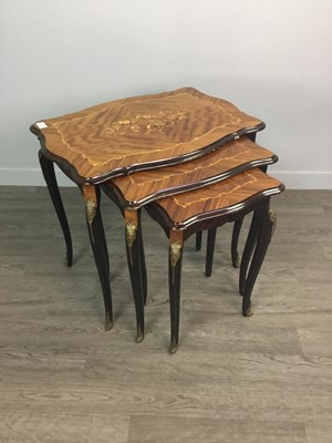 Lot 1340 - A NEST OF THREE FRENCH KINGWOOD AND MARQUETRY TABLES