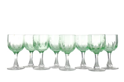 Lot 1025 - A RARE SET OF NINE EARLY 20TH CENTURY RED STAR LINE WINE GLASSES