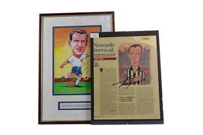 Lot 1745 - AN ALAN SHEARER AUTOGRAPHED DISPLAY, A COMMEMORATIVE CAN OF NEWCASTLE BROWN ALE, AND A NAT LOFTHOUSE AUTOGRAPHED DISPLAY