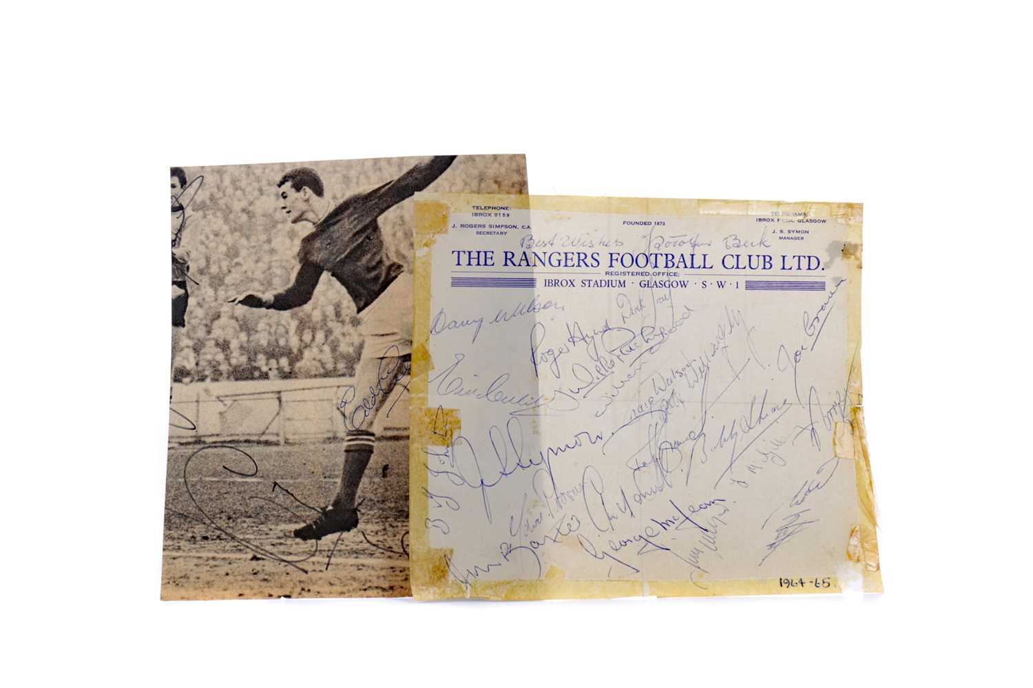 Lot 1749 - A LOT OF TWO RANGERS FOOTBALL CLUB AUTOGRAPHED SHEETS