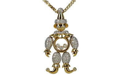 Lot 889 - A DIAMOND CLOWN PENDANT