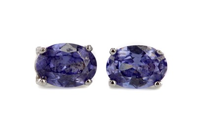 Lot 869 - A PAIR OF TANZANITE STUD EARRINGS