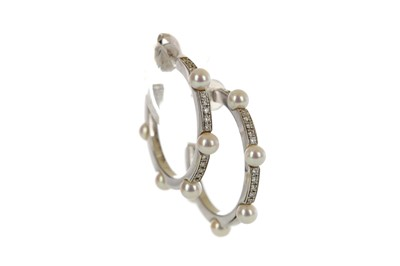 Lot 839 - A PAIR OF MIKIMOTO PEARL HALF HOOP EARRINGS