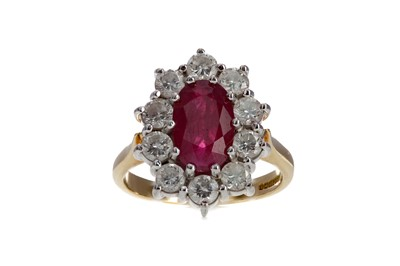 Lot 836 - A RUBY AND DIAMOND CLUSTER RING
